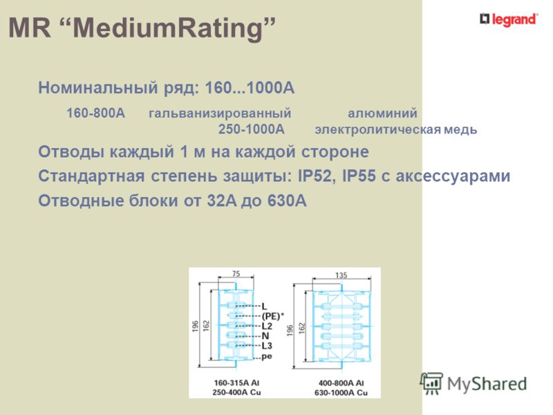 MR MediumRating Номинальный ряд: 160...1000A 160-800Aгальванизированный алюминий 250-1000Aэлектролитическая медь Отводы каждый 1 м на каждой стороне Стандартная степень защиты: IP52, IP55 с аксессуарами Отводные блоки от 32A до 630A