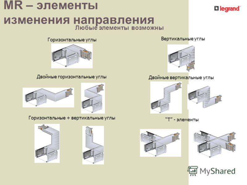 MR – элементы изменения направления Горизонтальные углы Вертикальные углы Двойные горизонтальные углы Двойные вертикальные углы T - элементы Горизонтальные + вертикальные углы Любые элементы возможны
