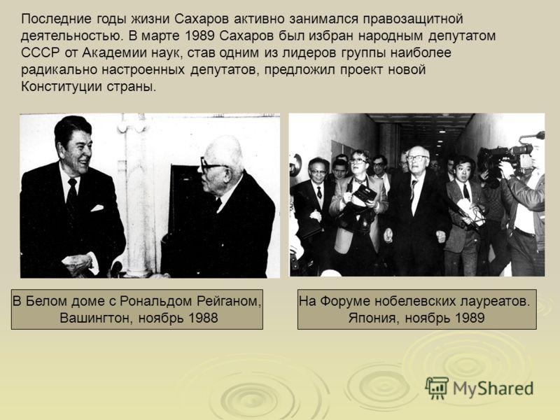Последние годы жизни Сахаров активно занимался правозащитной деятельностью. В марте 1989 Сахаров был избран народным депутатом СССР от Академии наук, став одним из лидеров группы наиболее радикально настроенных депутатов, предложил проект новой Конст