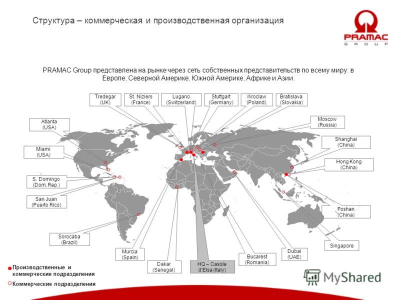 Структура – коммерческая и производственная организация PRAMAC Group представлена на рынке через сеть собственных представительств по всему миру: в Европе, Северной Америке, Южной Америке, Африке и Азии. Lugano (Switzerland) Dubai (UAE) Moscow (Russi