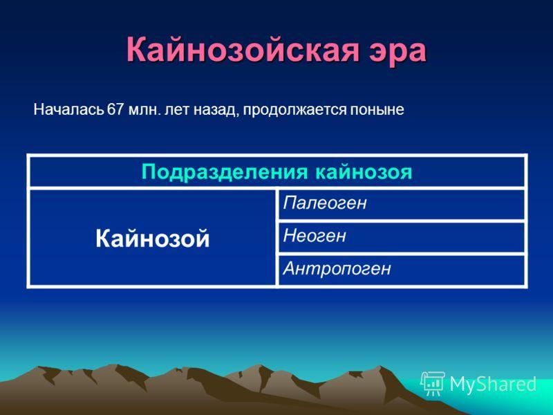 Кайнозойская эра Началась 67 млн. лет назад, продолжается поныне Подразделения кайнозоя Кайнозой Палеоген Неоген Антропоген