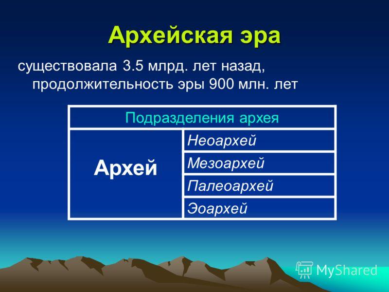 Архейская эра Подразделения архея Архей Неоархей Мезоархей Палеоархей Эоархей существовала 3.5 млрд. лет назад, продолжительность эры 900 млн. лет