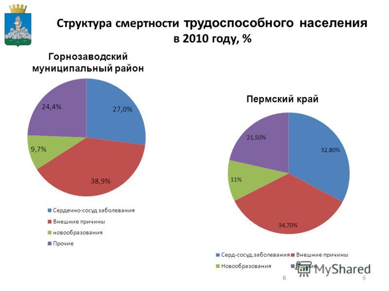 666 Структура смертности трудоспособного населения в 2010 году, % Горнозаводский муниципальный район Пермский край