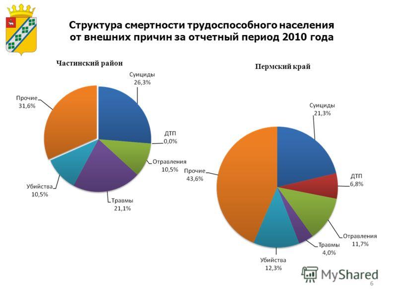 6 Структура смертности трудоспособного населения от внешних причин за отчетный период 2010 года Частинский район Пермский край 6