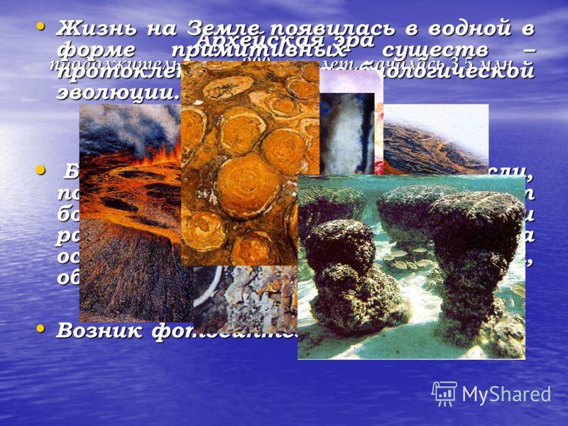 Архейская эра продолжительность 900 млн. лет, началась 3,5 млн. лет назад Жизнь на Земле появилась в водной в форме примитивных существ – протоклеток – начало биологической эволюции. Жизнь на Земле появилась в водной в форме примитивных существ – про