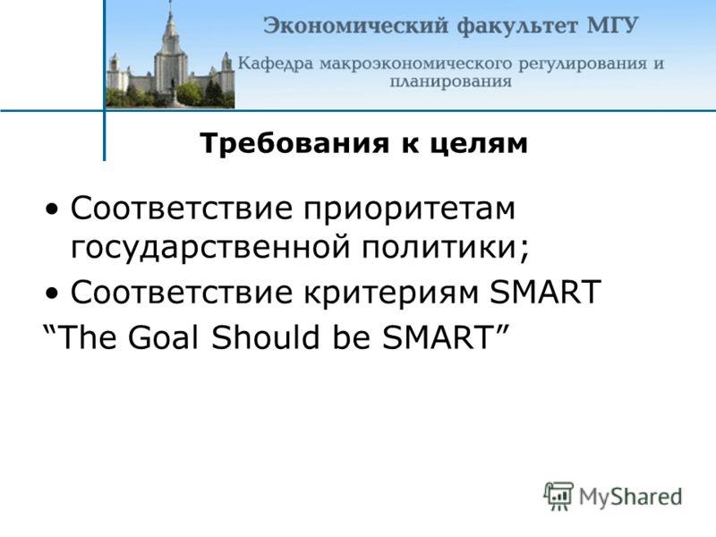 Соответствие приоритетам государственной политики; Соответствие критериям SMART The Goal Should be SMART Требования к целям