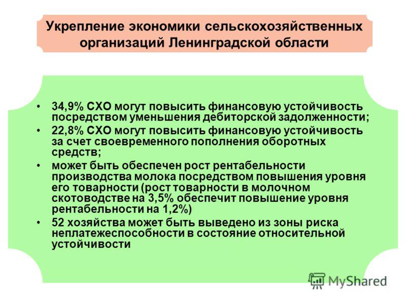 Укрепление экономики сельскохозяйственных организаций Ленинградской области 34,9% СХО могут повысить финансовую устойчивость посредством уменьшения дебиторской задолженности; 22,8% СХО могут повысить финансовую устойчивость за счет своевременного поп