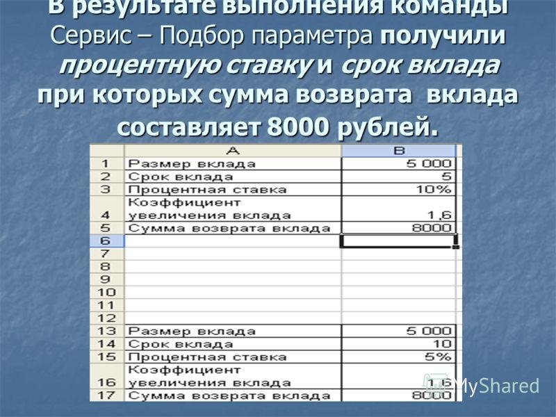 В результате выполнения команды Сервис – Подбор параметра получили процентную ставку и срок вклада при которых сумма возврата вклада составляет 8000 рублей.