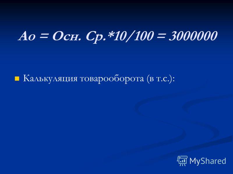 Ао = Осн. Ср.*10/100 = 3000000 Калькуляция товарооборота (в т.с.):