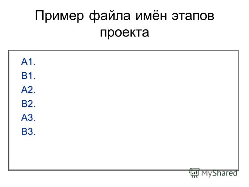 Пример файла имён этапов проекта A1. B1. A2. B2. A3. B3.