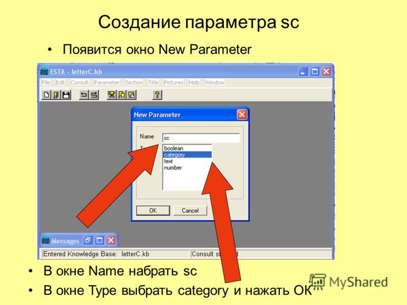 Создание параметра sc Появится окно New Parameter В окне Name набрать sc В окне Type выбрать category и нажать ОК