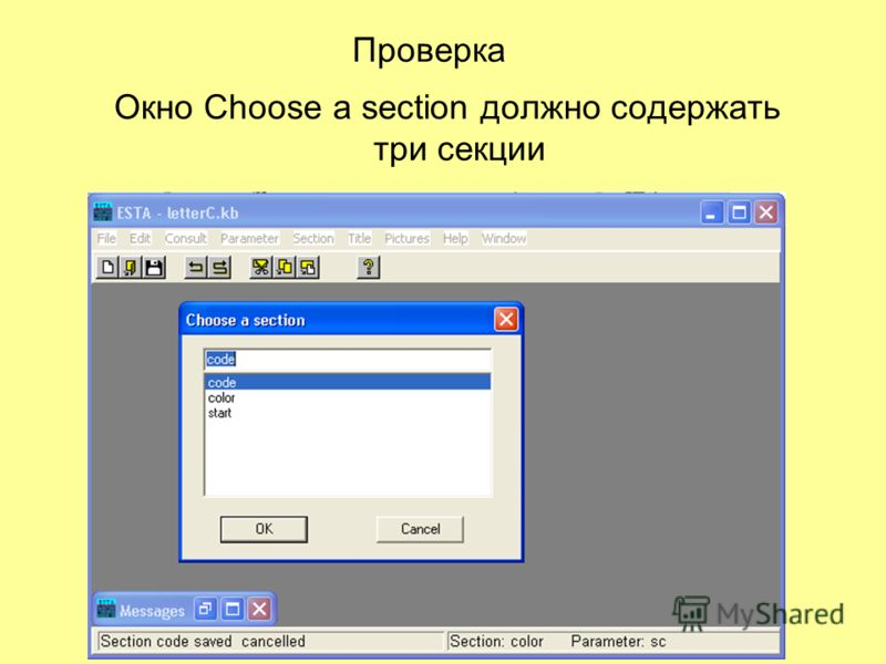 Проверка Окно Choose a section должно содержать три секции