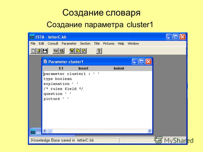 Создание словаря Создание параметра cluster1