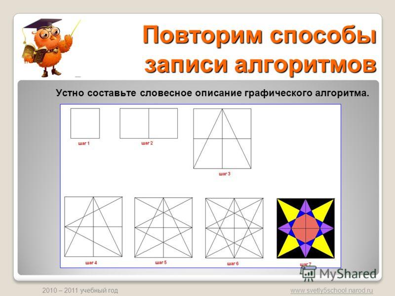 www.svetly5school.narod.ru 2010 – 2011 учебный год Повторим способы записи алгоритмов Устно составьте словесное описание графического алгоритма.