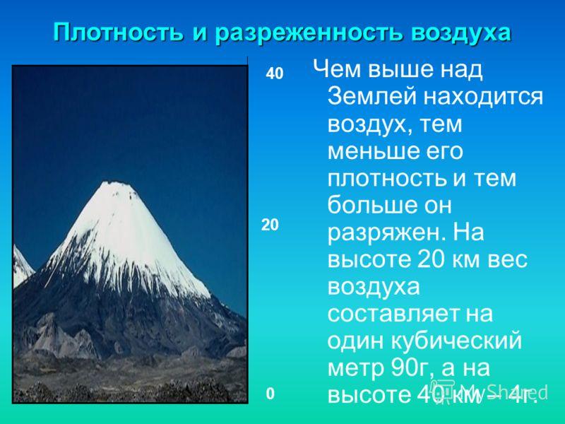 Чем выше над Землей находится воздух, тем меньше его плотность и тем больше он разряжен. На высоте 20 км вес воздуха составляет на один кубический метр 90г, а на высоте 40 км – 4г. Плотность и разреженность воздуха 0 20 40