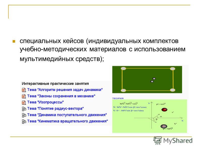 специальных кейсов (индивидуальных комплектов учебно-методических материалов с использованием мультимедийных средств);