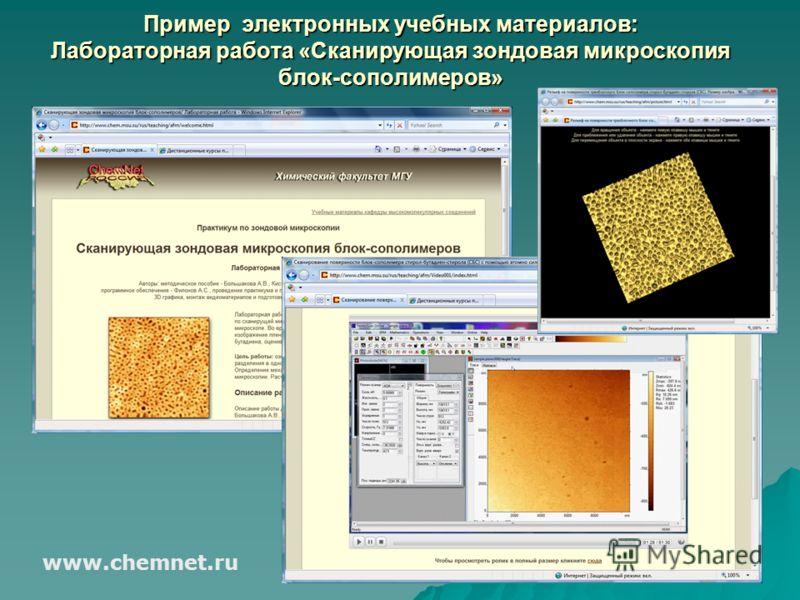 Пример электронных учебных материалов: Лабораторная работа «Сканирующая зондовая микроскопия блок-сополимеров» www.chemnet.ru