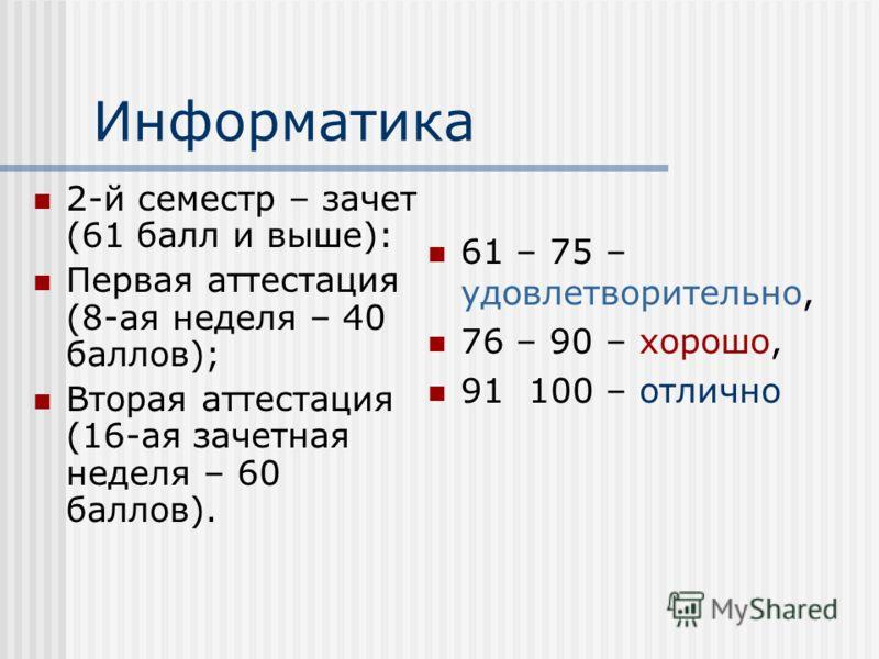 Информатика 2-й семестр – зачет (61 балл и выше): Первая аттестация (8-ая неделя – 40 баллов); Вторая аттестация (16-ая зачетная неделя – 60 баллов). 61 – 75 – удовлетворительно, 76 – 90 – хорошо, 91 100 – отлично