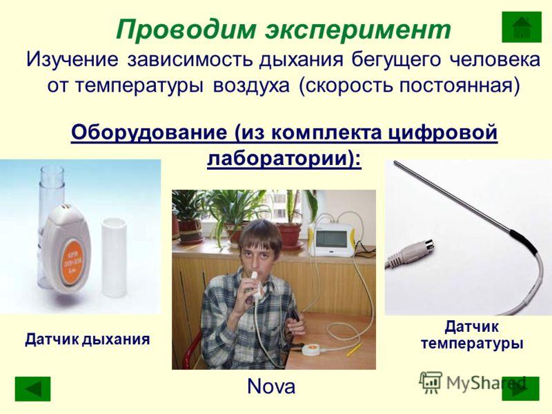 Проводим эксперимент Изучение зависимость дыхания бегущего человека от температуры воздуха (скорость постоянная) Nova Датчик дыхания Датчик температуры Оборудование (из комплекта цифровой лаборатории):
