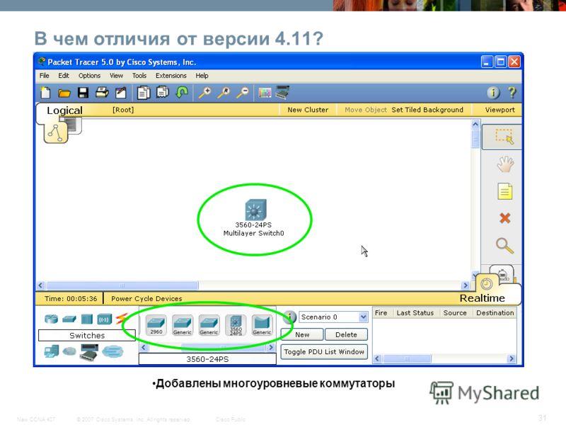 © 2007 Cisco Systems, Inc. All rights reserved.Cisco PublicNew CCNA 407 31 В чем отличия от версии 4.11? Добавлены многоуровневые коммутаторы
