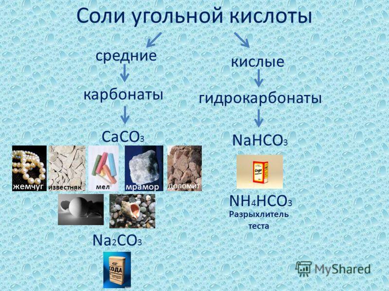 Соли угольной кислоты средние кислые карбонаты гидрокарбонаты CaCO 3 жемчуг известняк мел мрамор доломит Na 2 CO 3 NaHCO 3 NH 4 HCO 3 Разрыхлитель теста