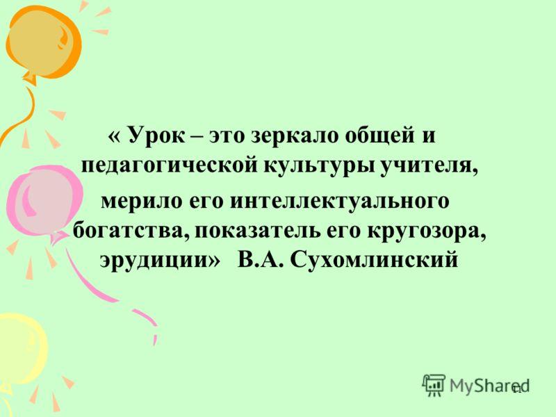 11 « Урок – это зеркало общей и педагогической культуры учителя, мерило его интеллектуального богатства, показатель его кругозора, эрудиции» В.А. Сухомлинский