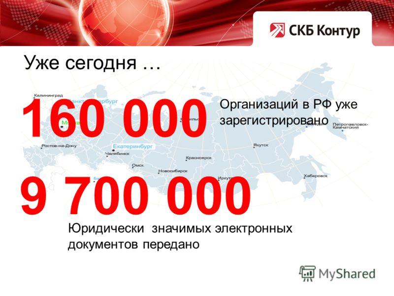 Организаций в РФ уже зарегистрировано 160 000 Юридически значимых электронных документов передано 9 700 000 Уже сегодня …