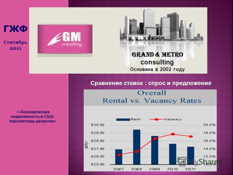 « « Коммерческая недвижимость в США: перспективы развития » Grand & Metro consulting Основана в 2002 году ГЖФ Сентябрь 2011 Сравнение ставок : спрос и предложение