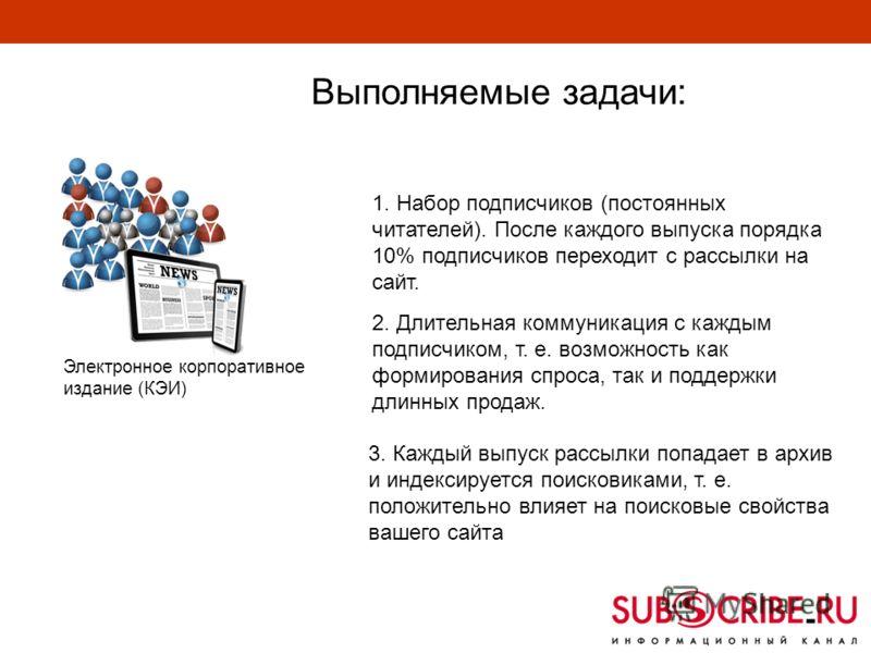 Выполняемые задачи: 1. Набор подписчиков (постоянных читателей). После каждого выпуска порядка 10% подписчиков переходит с рассылки на сайт. 2. Длительная коммуникация с каждым подписчиком, т. е. возможность как формирования спроса, так и поддержки д
