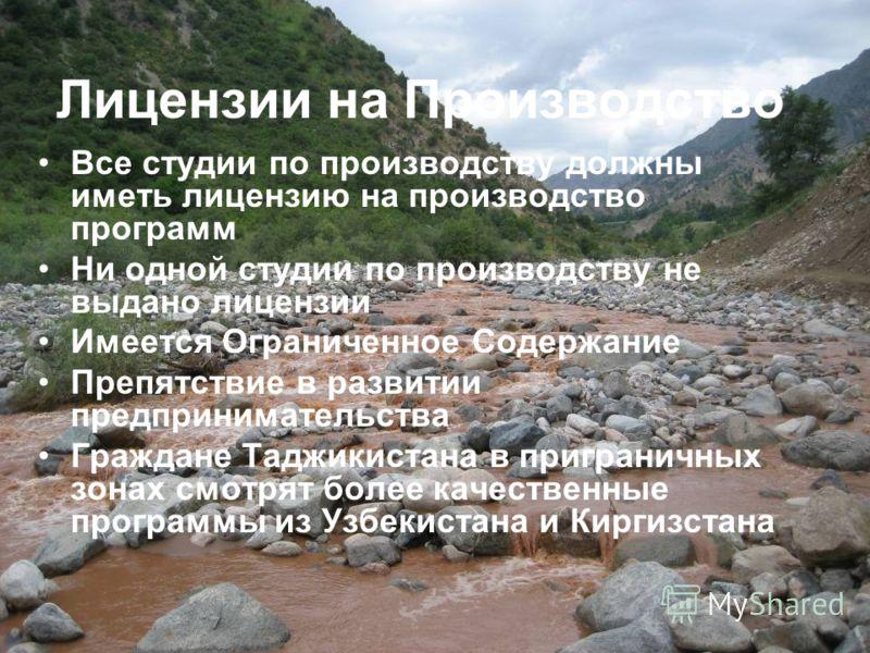 Лицензии на Производство Все студии по производству должны иметь лицензию на производство программ Ни одной студии по производству не выдано лицензии Имеется Ограниченное Содержание Препятствие в развитии предпринимательства Граждане Таджикистана в п