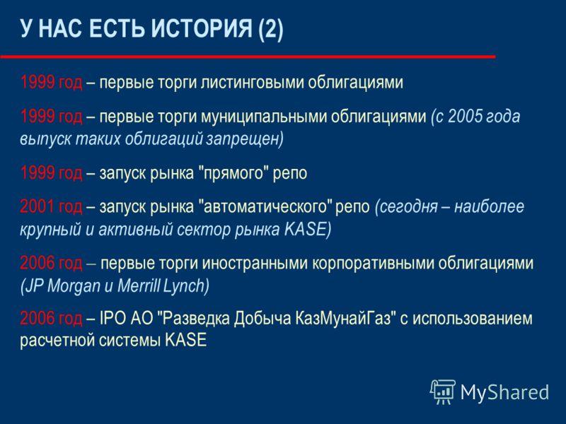 У НАС ЕСТЬ ИСТОРИЯ (2) 1999 год – первые торги листинговыми облигациями 1999 год – первые торги муниципальными облигациями (с 2005 года выпуск таких облигаций запрещен) 1999 год – запуск рынка