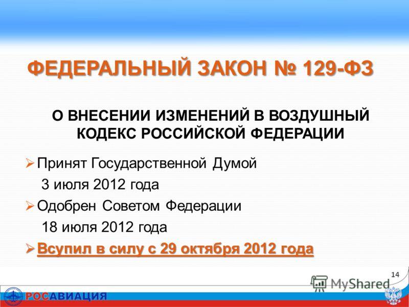ФЕДЕРАЛЬНЫЙ ЗАКОН 129-ФЗ О ВНЕСЕНИИ ИЗМЕНЕНИЙ В ВОЗДУШНЫЙ КОДЕКС РОССИЙСКОЙ ФЕДЕРАЦИИ Принят Государственной Думой 3 июля 2012 года Одобрен Советом Федерации 18 июля 2012 года Всупил в силу с 29 октября 2012 года Всупил в силу с 29 октября 2012 года