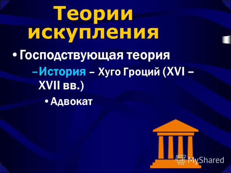 –История – Хуго Гроций (XVI – XVII вв.) Адвокат Господствующая теория Теории искупления