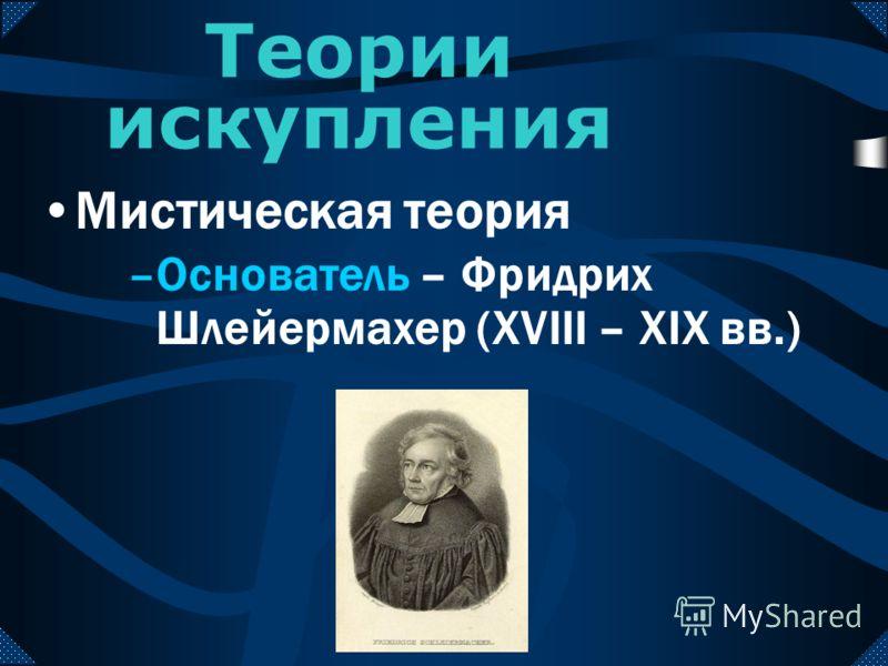 Мистическая теория Теории искупления –Основатель – Фридрих Шлейермахер (XVIII – XIX вв.)