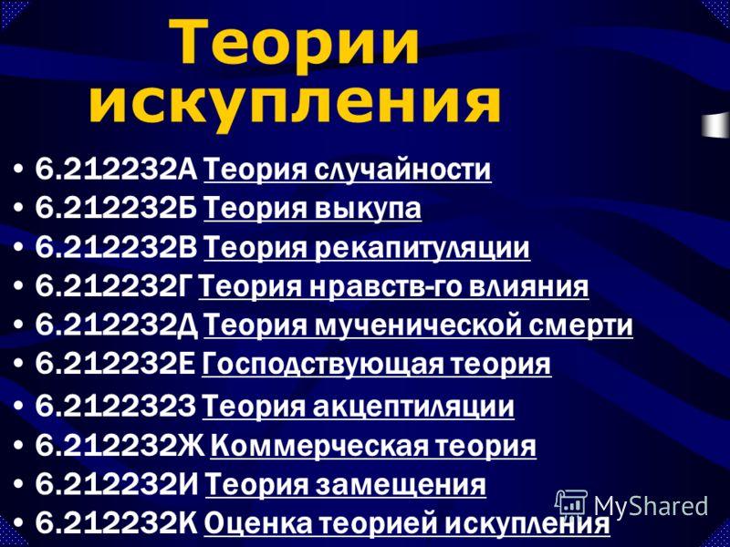 6.212232А Теория случайностиТеория случайности 6.212232Б Теория выкупаТеория выкупа 6.212232В Теория рекапитуляцииТеория рекапитуляции 6.212232Г Теория нравств-го влиянияТеория нравств-го влияния 6.212232Д Теория мученической смертиТеория мученическо