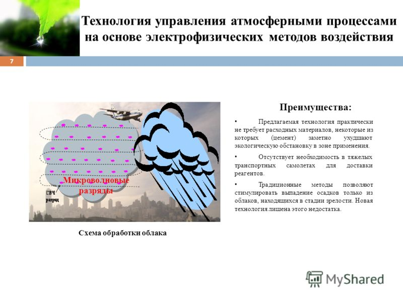 Технология управления атмосферными процессами на основе электрофизических методов воздействия 7 Преимущества: Предлагаемая технология практически не требует расходных материалов, некоторые из которых (цемент) заметно ухудшают экологическую обстановку