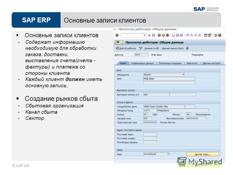 SAP ERP Page 4-11 © SAP AG Основные записи клиентов -Содержат информацию необходимую для обработки заказа, доставки, выставления счета(счета - фактуры) и платежа со стороны клиента -Каждый клиент должен иметь основную запись. Создание рынков сбыта -С