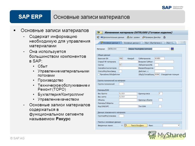 SAP ERP Page 4-14 © SAP AG Основные записи материалов -Содержат информацию необходимую для управления материалами -Она используется большинством компонентов в SAP: Сбыт Управление материальными потоками Производство Техническое обслуживание и Ремонт