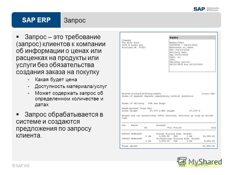 SAP ERP Page 4-22 © SAP AG Запрос Запрос – это требование (запрос) клиентов к компании об информации о ценах или расценках на продукты или услуги без обязательства создания заказа на покупку -Какая будет цена -Доступность материала/услуг -Может содер