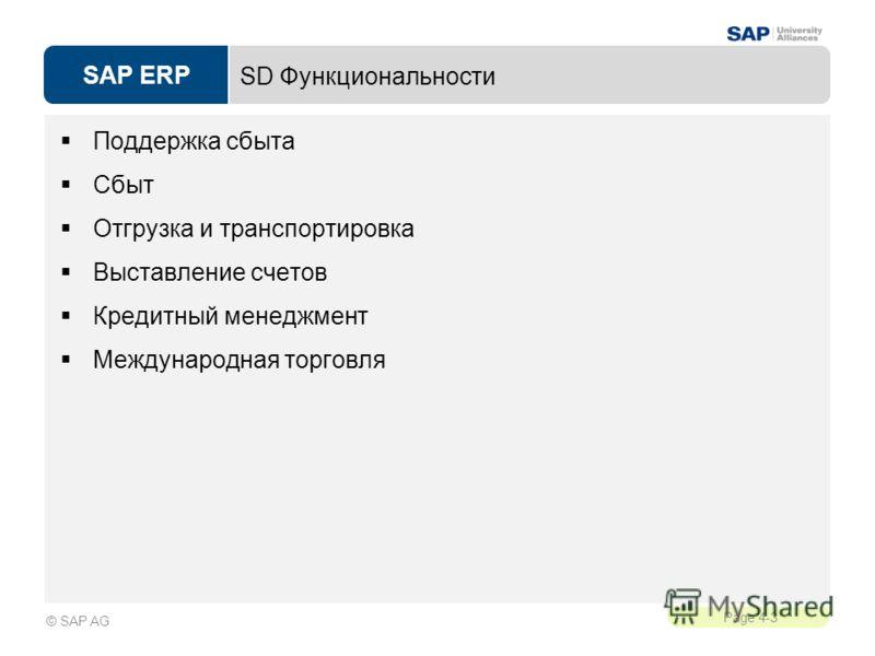 SAP ERP Page 4-3 © SAP AG SD Функциональности Поддержка сбыта Сбыт Отгрузка и транспортировка Выставление счетов Кредитный менеджмент Международная торговля
