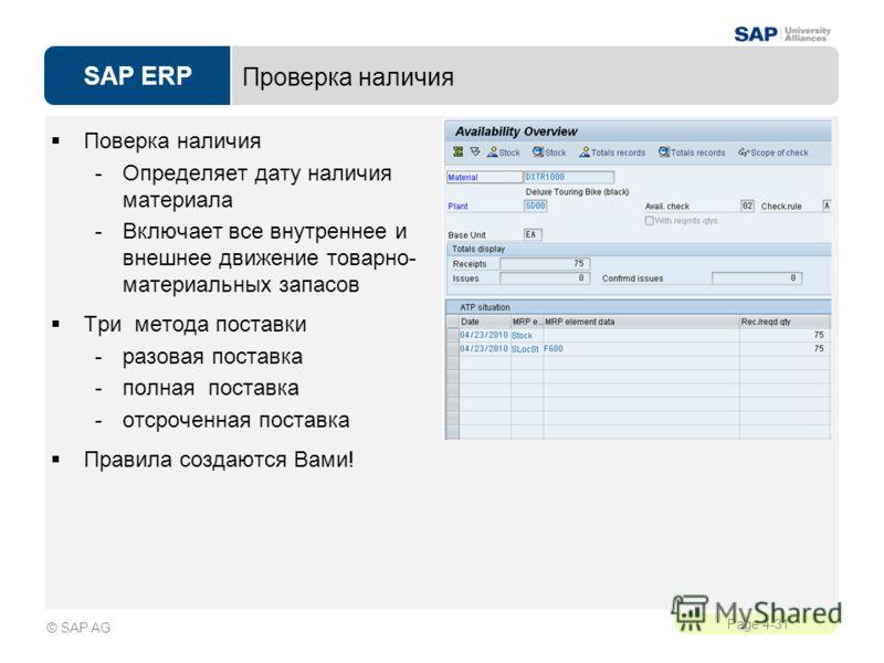 SAP ERP Page 4-31 © SAP AG Проверка наличия Поверка наличия -Определяет дату наличия материала -Включает все внутреннее и внешнее движение товарно- материальных запасов Три метода поставки -разовая поставка -полная поставка -отсроченная поставка Прав