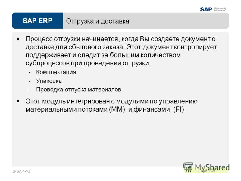 SAP ERP Page 4-34 © SAP AG Отгрузка и доставка Процесс отгрузки начинается, когда Вы создаете документ о доставке для сбытового заказа. Этот документ контролирует, поддерживает и следит за большим количеством субпроцессов при проведении отгрузки : -К