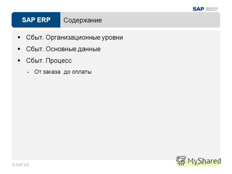 SAP ERP Page 4-4 © SAP AG Содержание Сбыт. Организационные уровни Сбыт. Основные данные Сбыт. Процесс -От заказа до оплаты
