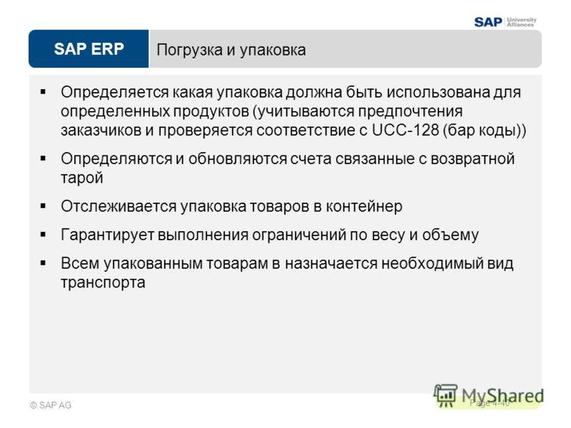 SAP ERP Page 4-40 © SAP AG Погрузка и упаковка Определяется какая упаковка должна быть использована для определенных продуктов (учитываются предпочтения заказчиков и проверяется соответствие с UCC-128 (бар коды)) Определяются и обновляются счета связ