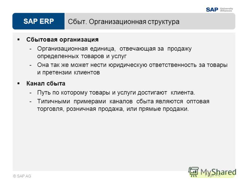 SAP ERP Page 4-6 © SAP AG Сбыт. Организационная структура Сбытовая организация -Организационная единица, отвечающая за продажу определенных товаров и услуг -Она так же может нести юридическую ответственность за товары и претензии клиентов Канал сбыта