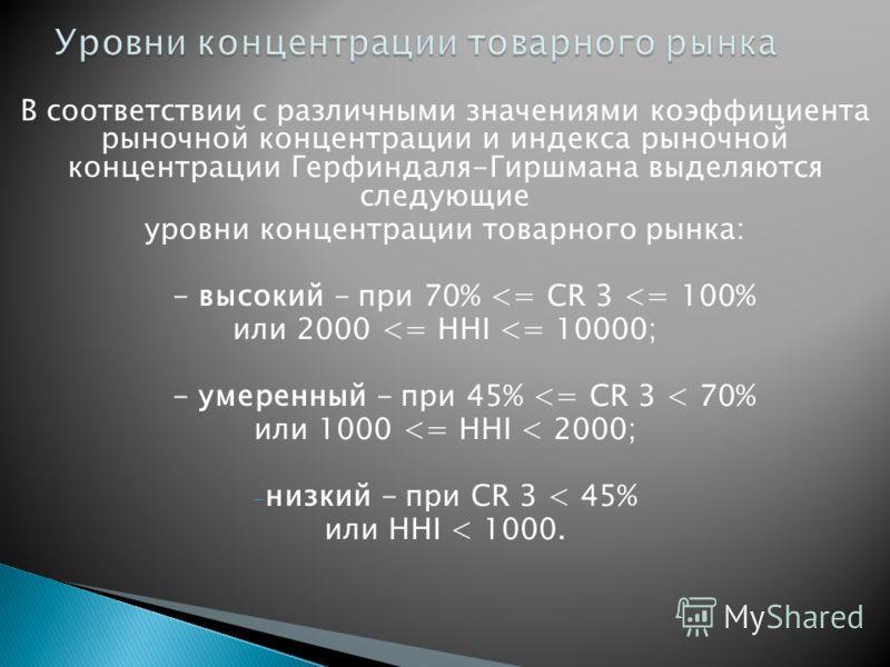 В соответствии с различными значениями коэффициента рыночной концентрации и индекса рыночной концентрации Герфиндаля-Гиршмана выделяются следующие уровни концентрации товарного рынка: - высокий - при 70%