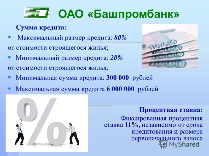 Сумма кредита: Максимальный размер кредита: 80% от стоимости строящегося жилья; Минимальный размер кредита: 20% от стоимости строящегося жилья; Минимальная сумма кредита: 300 000 рублей Максимальная сумма кредита 6 000 000 рублей ОАО «Башпромбанк» Пр