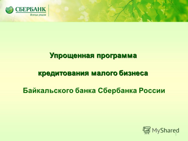 1 Упрощенная программа кредитования малого бизнеса Байкальского банка Сбербанка России
