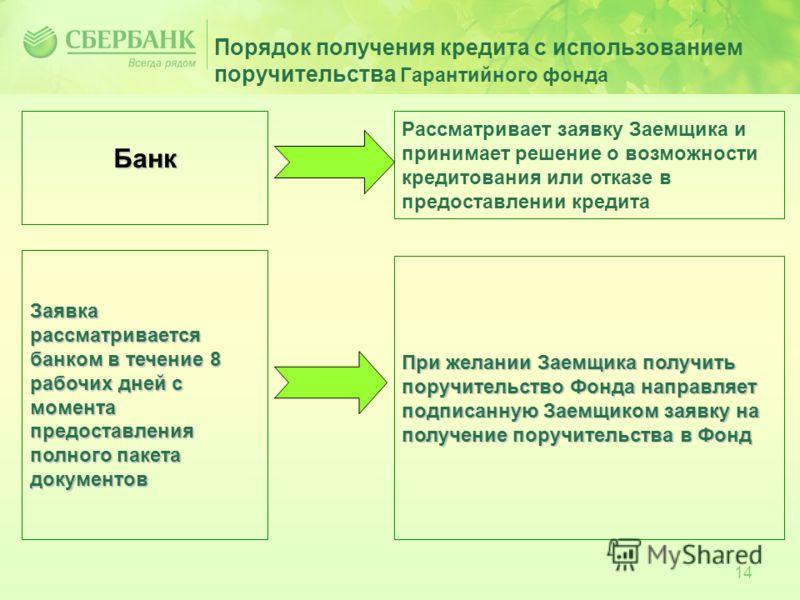 14 Порядок получения кредита с использованием поручительства Гарантийного фонда Банк Рассматривает заявку Заемщика и принимает решение о возможности кредитования или отказе в предоставлении кредита Заявка рассматривается банком в течение 8 рабочих дн