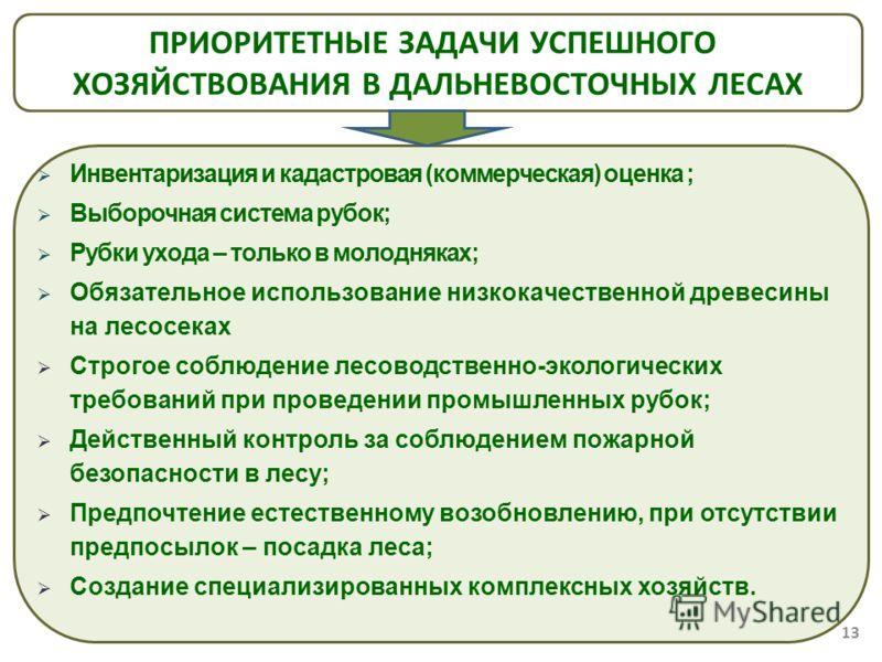 Инвентаризация и кадастровая (коммерческая) оценка ; Выборочная система рубок; Рубки ухода – только в молодняках; Обязательное использование низкокачественной древесины на лесосеках Строгое соблюдение лесоводственно-экологических требований при прове